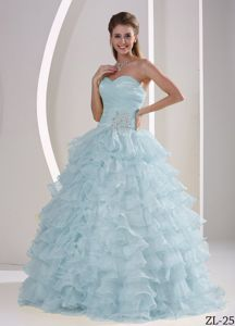Ruffled and Ruched Quinces Gown For Military Ball with Appliques