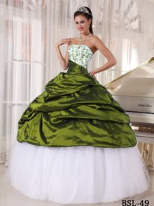 White and Olive Green Ball Gown Quince Dress in Taffeta and Tulle