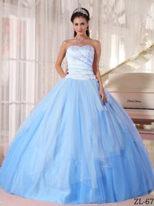 Sweetheart Beaded Quinces Dress in Light Blue with Tulle Fabric