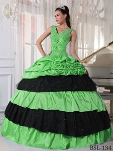 Green and Black Quinceanera Dress with V-neck Straps and Beading