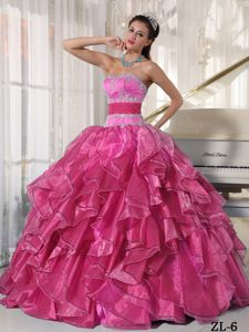 Strapless Quinces Dress with Ruffles and Appliques in Coral Red