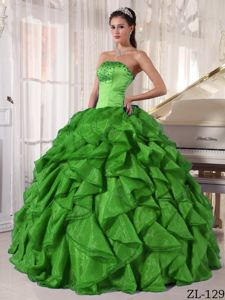 Green Strapless Ruffled Quinceanera Dress in Satin and Organza