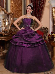 Ball Gown Floor-length Dress for Quince with Beads in Dark Purple
