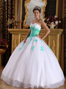 White and Apple Green Dress for Quinceanera Party with Appliques