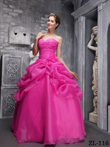 Hot Pink Ball Gown Dress for 16th with Sweetheart-neck and Ruche