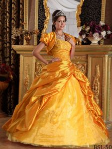Ball Gown Dress for Quinceanera with Jacket and Appliques