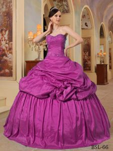 Fuchsia Ball Gown Dresses for Sweet15th with Beading in Taffeta