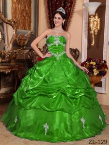 Fitted Strapless Organza Quinces Dress with Appliques in Green