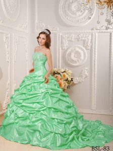 Court Train Quinceanera Dresses in Apple Green with Taffeta