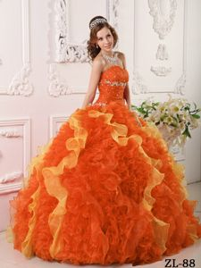 Orange Red and Yellow Quinces Gown with Appliques and Beading