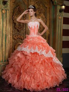 Orange Strapless Quince Dress with Organza Ruffles and Appliques
