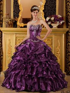 Organza Ruffles Sweet 15th Dress in Dark Purple with Sweetheart for Miss World Competition