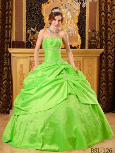 Taffeta Strapless Sweet 15th Dress with Beads in Spring Green