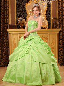 Strapless Yellow Green Quinces Dress in Taffeta with Beading