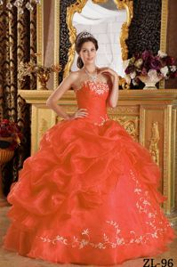 Floor-length Orange Red Sweet Fifteenth Dress with Embroidery