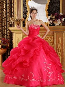 Embroidered Quinceanera Dress for Military Ball in Coral Red
