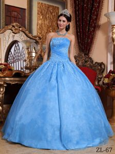 Strapless Organza Dress for 15th in Royal Blue with Appliques