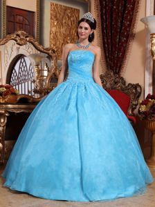 Aqua Blue Ball Gown Dress for Quinceanera with Floor-length