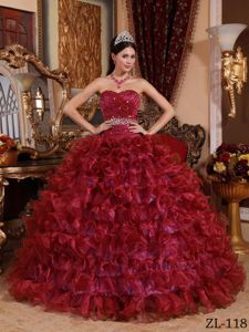 Organza Ruffles Ball Gown Dress for Quinces in Wine Red