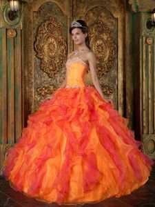 Orange and Coral Red Dress for Quinceanera with Sweetheart