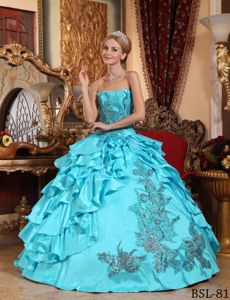 Floor-length Sweet 16th Dresses in Aqua Blue with Appliques