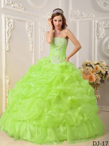Yellow Green Beaded Dress for Quince with Organza Ruffles