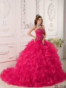 Hot Pink Organza Ruffles Quinceanera Dress with Embroidery