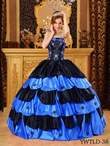 Black and Blue Ball Gown Dress for Quinceanera in Taffeta