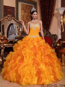 Appliqued and Beaded Quinceanera Dress in Gold and Yellow