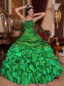 Embroidery with Beading Sweet 16th Dress in Green with Straps Nicki Minajs evening dress