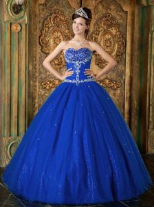 Dark Blue Sweetheart Quinceanera Dress in Tulle with Beading