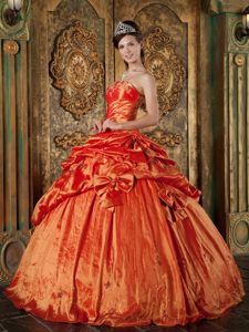 Cute with Bowknots and Pick-ups 2014 Orange Red Quince Dress