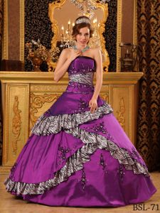 Exclusive Purple with Zebra Print 2013 Quinceanera Dress Sale