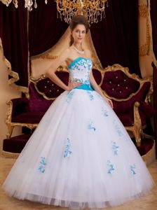 Modest 2013 White and Blue Tulle Sweet 16 Ball Gown on Sale
