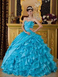 Baby Blue Ruffled for 2013 Sweet 16 Birthday Party Dress Cheap