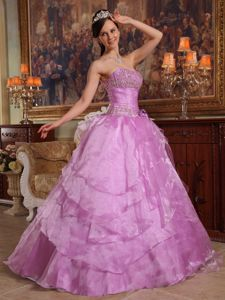 Chic Flower Decorate 2012 Lilac Sweet 15 Gown Tiered