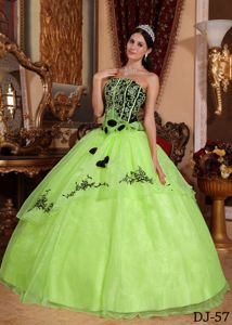 Embroidery Yellow Green Flowers Organza Quinceanera gowns