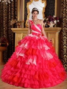 Red One Shoulder Organza Ruffles Quinceanera Dress Beaded