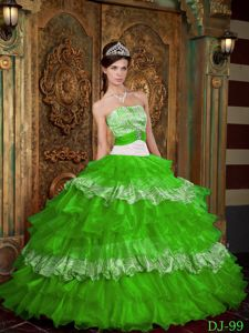 Cheap Zebra Spring Green Beaded Ruffles Quinceanera Dresses