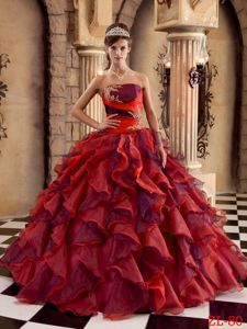 Multi-color Organza Quinceanera Dress Ruffled with Applique