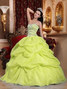 Yellow Pick-ups Beaded Corset Back Dresses For Quinceanera