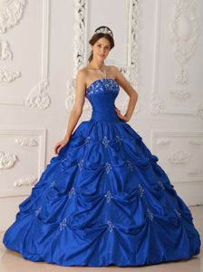 Beaded Taffeta Appliques Ruche Sweet 16 Dress in Royal Blue
