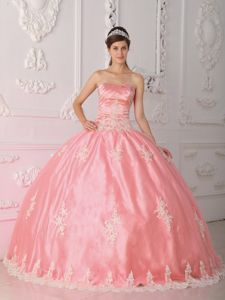 Strapless Lace Appliques Watermelon Quinceanera Gown Ruched