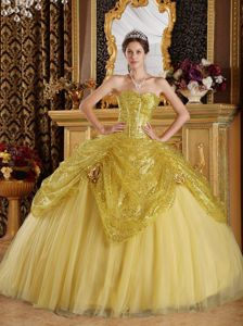 Gold Sequined Tulle Sweetheart Quinceanera Dress under 250