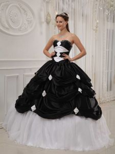 Black and White Beaded Dress For Quinceanera with Pick-ups