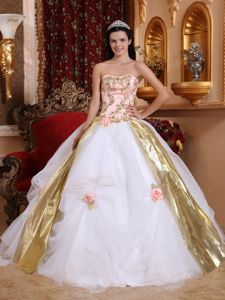 White Appliques Quinceanera Gown Beaded with Gold Ribbons