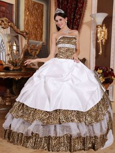 Discount 2014 Leopard White Quinceanera Dress with Beading