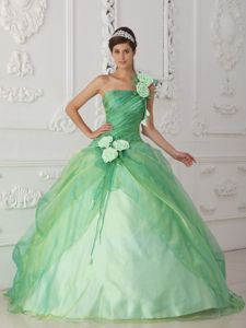 Single Strap Apple Green Beaded Flowers Dress for Quince
