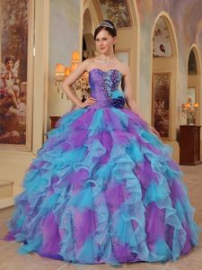 Purple and Aqua Blue Sweetheart Quinceanera Gown Ruffled