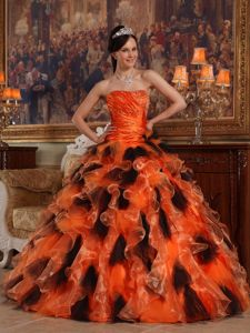 Black and Orange Ruche Organza Joan Jetts Quinceanera Dresses with Ruffles